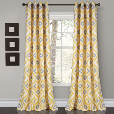 Half Moon Diamond Ikat Room Darkening Window Curtain Set 52X84