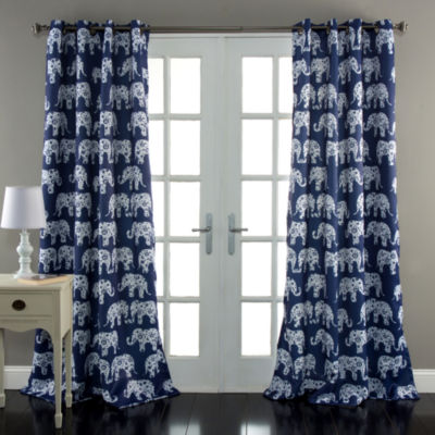 Half Moon Elephant Parade Room Darkening Window Curtain Set 52X84