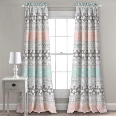 Half Moon Elephant Stripe Room Darkening Window Curtain Panels 52X84 + 2 Inch Header Set