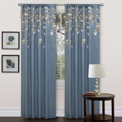 Lush Décor Flower Drops Window Curtain Blue Single 50X84
