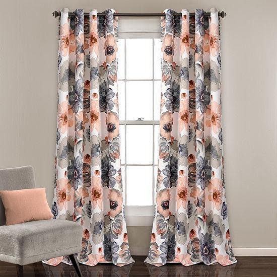 Leah Energy Saving Light-Filtering Grommet-Top Set of 2 Curtain Panel