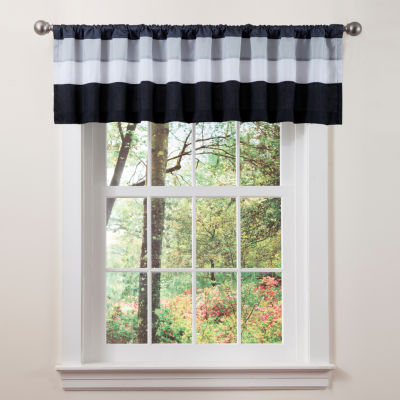 Lush Decor Iman Valance White/Black Single 18x84