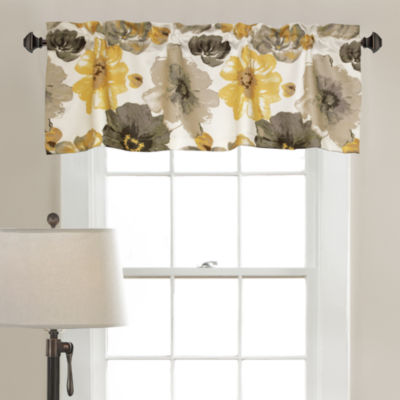 Half Moon Leah Room Darkening Valance Yellow/Gray Single 18x52+ 2 Inch Header