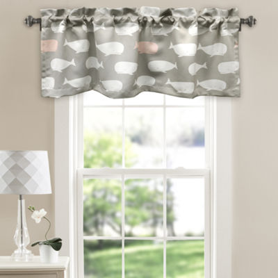 Half Moon Whale Room Darkening Valance Pink Single 52x18+ 2 Inch Header