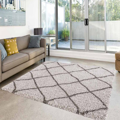 Concord Global Trading Ocean Shag Collection Trellis Area Rug