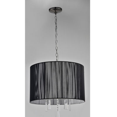 Tenbury Wells Collection Elina 5-light Black Chrome Crystal Chandelier with Black Threaded Silk Shade