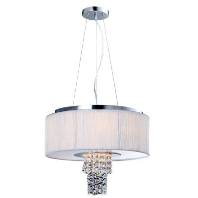 Tenbury Wells Collection Adrienne 6-Light Stainless Steel Chrome Crystal Chandelier with Plisse Fabric Shade