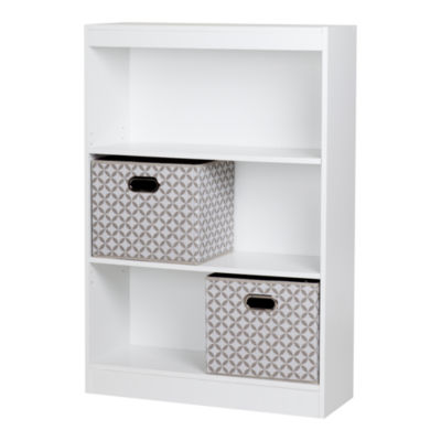 Axess 3-Shelf Bookcase with 2 Fabric Storage Baskets