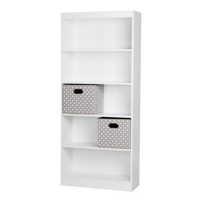Axess 5-Shelf Bookcase with 2 Fabric Storage Baskets
