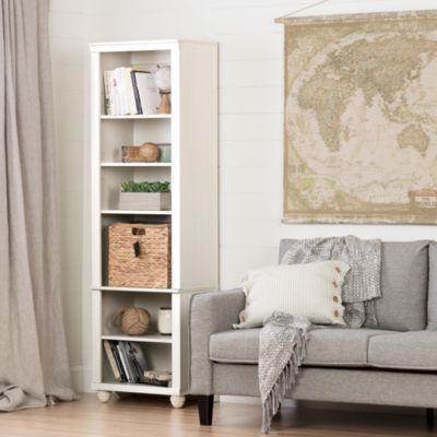 Hopedale Narrow 6-Shelf Bookcase with Rattan Basket