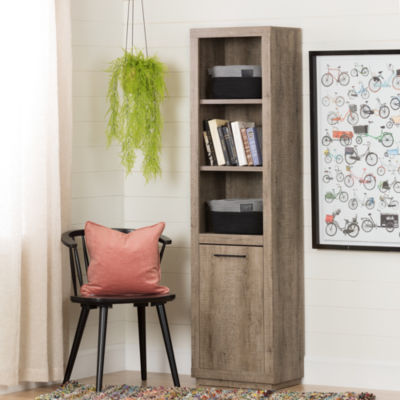 Kanji 3-Shelf Bookcase with Door and 2 Knit Baskets