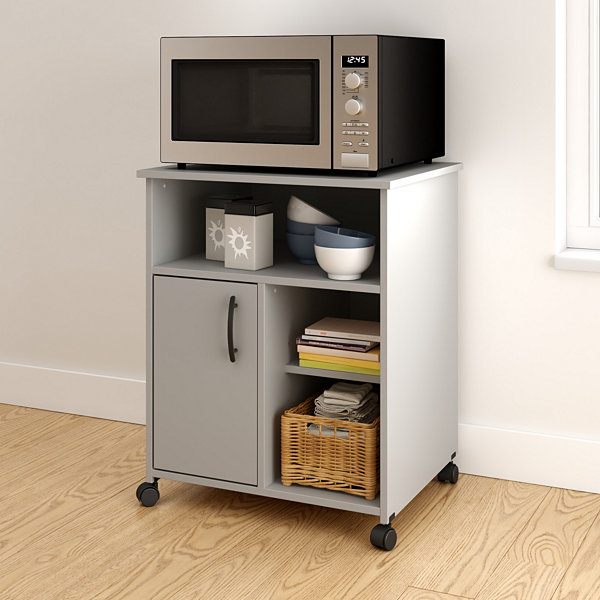 As Microwave Cart With Storage On Wheels
