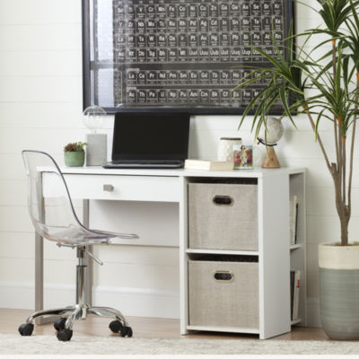 Interface Desk with Storage and Baskets