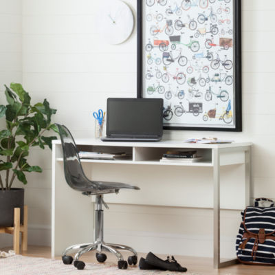 Interface Interface Desk with Clear Smoked Gray Office Chair With Wheels