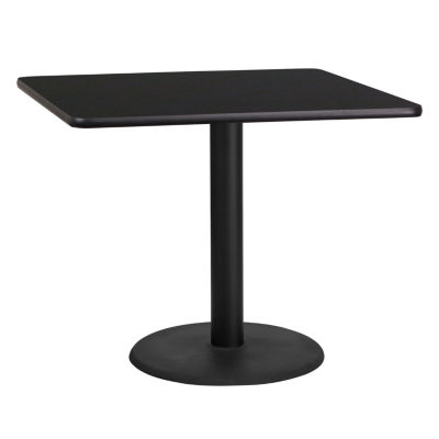 36'' Square Laminate Table Top with 24'' Round Table Height Base
