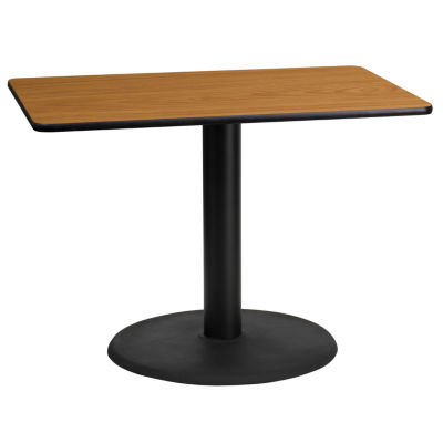 24'' x 42'' Rectangular Laminate Table Top with 24'' Round Table Height Base