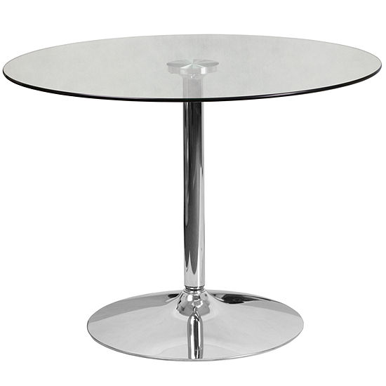 3925 Round Glass Table With 29h Chrome Base