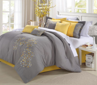 Floral Embroidery King 12 Piece Comforter Set
