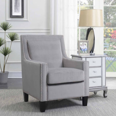 Manor Velvet Accent Arm Chair with Nailhead Trim