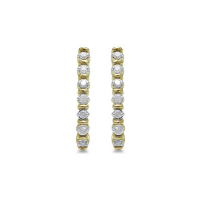 1/4 CT. T.W. Genuine Diamond 10K Gold 20.4mm Hoop Earrings