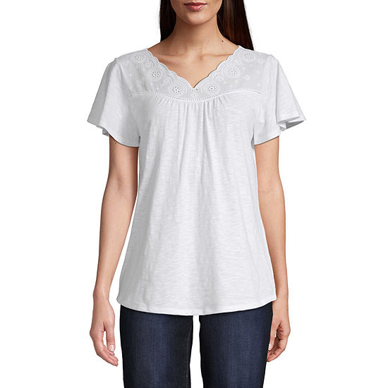 St Johns Bay Eyelet V Neck Garment Wash Tee Tall