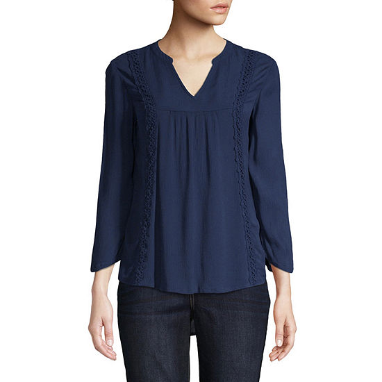 St. John's Bay Lace Detail Blouse - Tall