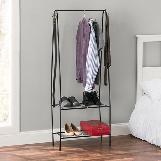 Home Basics 2 Shelf Free-Standing Garment Rack with Hooks