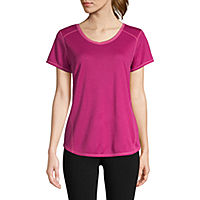5 St. Johns Bay Active Quick Dry-Womens V Neck Short T-Shirt Deals