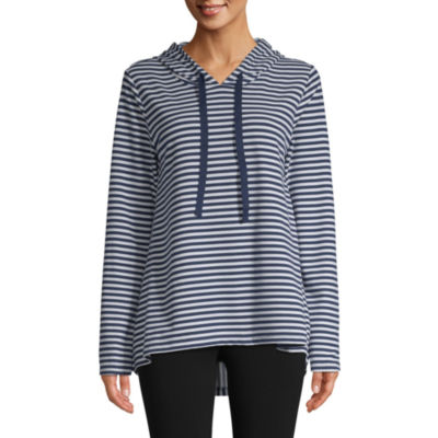 St. John's Bay Active Womens Hooded Neck Long Sleeve Tunic Top