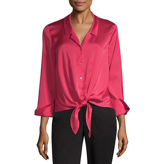 Worthington Womens Collar Neck Long Sleeve Blouse