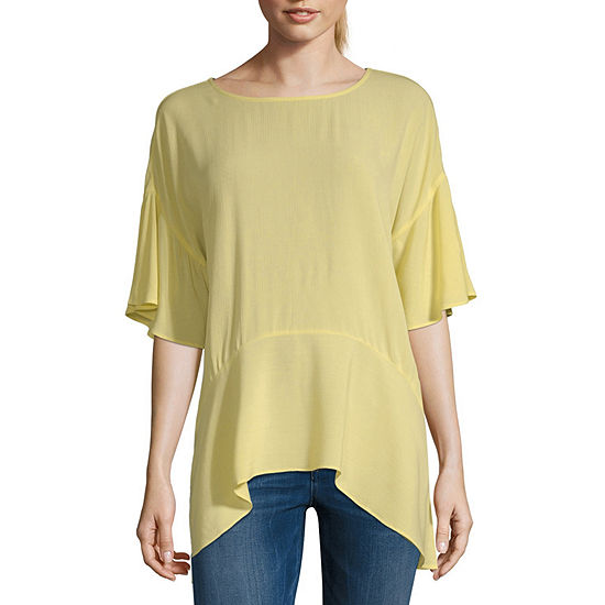 a.n.a Womens Round Neck Elbow Sleeve Woven Blouse