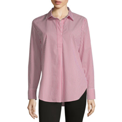 Liz Claiborne Womens Y Neck Long Sleeve Tunic Top