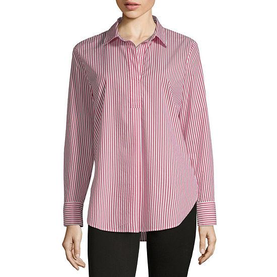 Liz Claiborne Womens Y Neck Long Sleeve Tunic Top