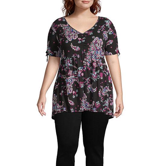 Boutique + Womens V Neck Short Sleeve Knit Blouse-Plus