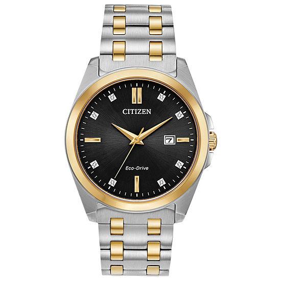 Citizen Corso Mens Diamond Accent Two Tone Stainless Steel Bracelet Watch - Bm7107-50e