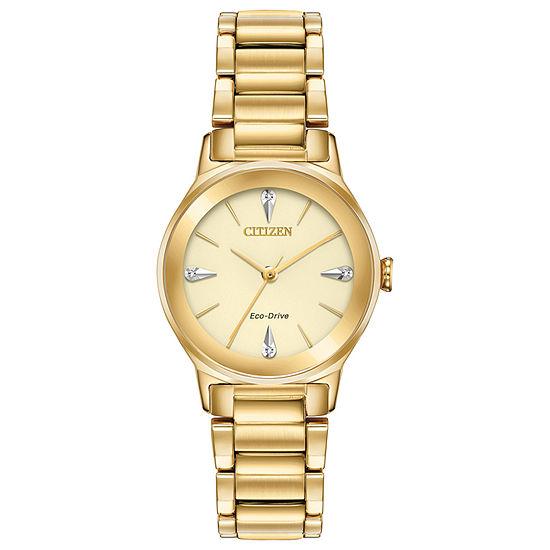 Citizen Axiom Womens Diamond Accent Gold Tone Stainless Steel Bracelet Watch-Em0732-51p