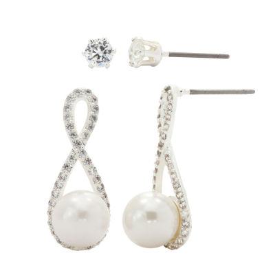 Sparkle Allure Simulated Pearl Silver Tone 2-pc. Jewelry Set