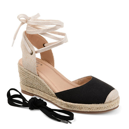 Journee Collection Womens Monte Lace-up Round Toe Espadrille Wedge. 5 1/2 Medium. Black