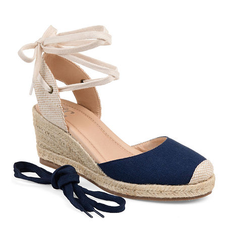 1940s Style Shoes, 40s Shoes Journee Collection Womens Monte Lace-up Round Toe Espadrille Wedge 9 Medium Blue $74.99 AT vintagedancer.com