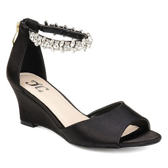Journee Collection Womens Connor Pumps Zip Open Toe Wedge Heel
