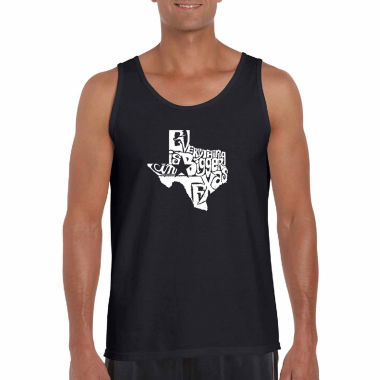 Los Angeles Pop Art Everything is bigger in TexasWord Art Tank Top- Men's Big and Tall