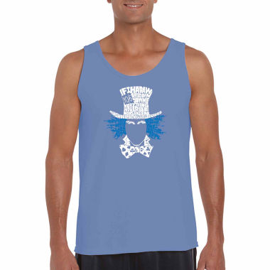 "Los Angeles Pop Art ""The Mad Hatter"" Word Art TankTop- Men's Big and Tall"""