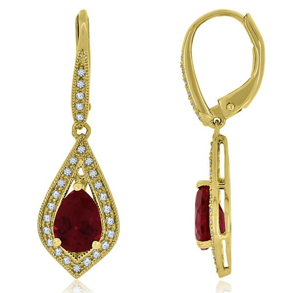 Lab-Created Ruby & White Sapphire Drop Earrings in 14K Gold Over Silver
