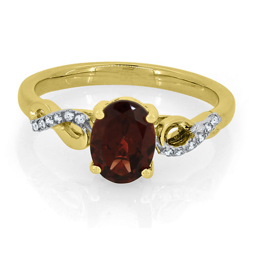 Womens Genuine Red Garnet Gold Over Silver Cocktail Ring