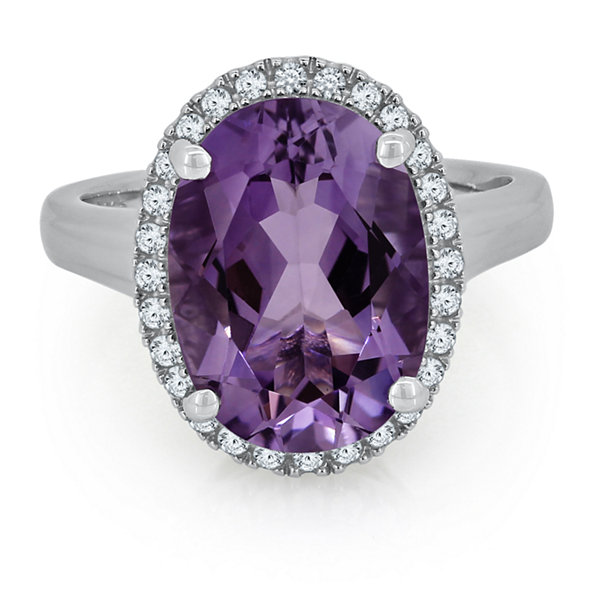 Womens Purple Amethyst Sterling Silver Cocktail Ring