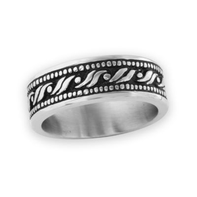Mens 8 Mm Stainless Steel Wedding Band