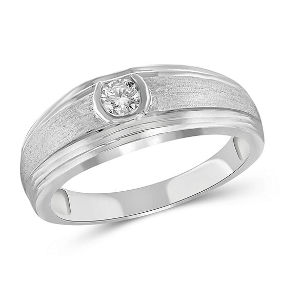Mens 3/4 CT. T.W. Genuine White Diamond 10K Gold Fashion Ring