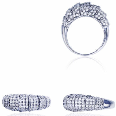 Sterling Silver Rhodium Pave Curled Caterpillar Fashion Ring