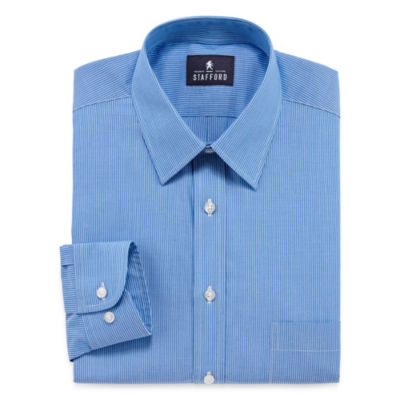 Stafford Long Sleeve Woven Stripe Dress Shirt