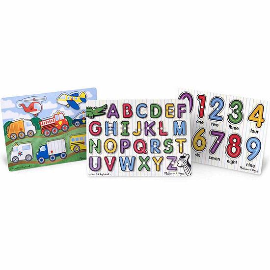 Melissa & Doug Peg Puzzle Bundle - Alphabet  Vehicles  Numbers